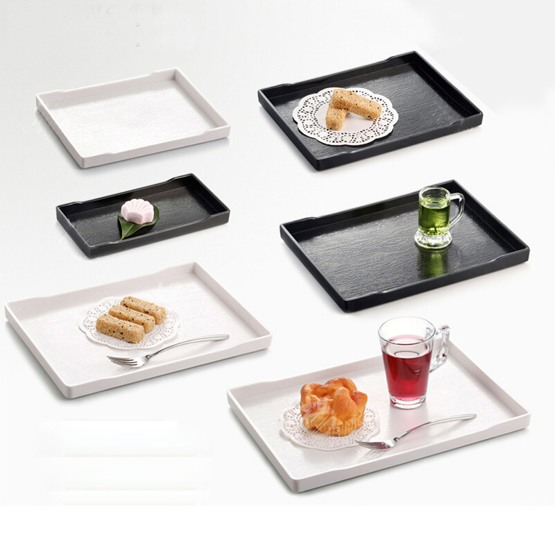 Hotel Restaurant Tray European Style Imitation Porcelain Dinnerware Non-Slip Bar Tray A5 Melamine Tableware Retail