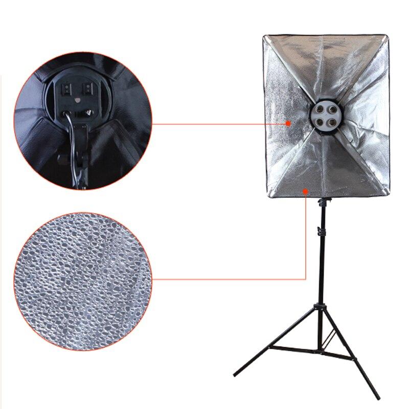 Diffuseur lumière 50*70cm éclairage continu Softbox pour 4-en-1 douille E27 support de lampe avec 2 pièces 2M support de lumière Kit de Studio Photo - 5