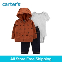3pcs soft cotton raccoon print and stripes jacket set Carter's baby boy spring autumn clothing 121I885