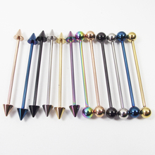US $0.69 30% OFF|2 Piece 1.6x38x6mm 14G Fashion Stainless Steel Long Industrial Straight Barbell Spike Ball Ear Piercing Body Jewelry-in Body Jewelry from Jewelry & Accessories on AliExpress - 11.11_Double 11_Singles' Day
