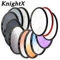 KnightX 49 ממ 52 ממ 58 ממ 67 ממ 72 ממ 77 ממ מסנן צבע שמיים כחול הדרגתי UV FLD 1200D 750D עדשות סינון עבור Canon EOS 700D 600D עדשת
