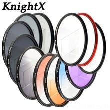 KnightX 49mm 52mm 58 MM 67 MM 72 MM 77 MM filtre de couleur bleu ciel progressif filtre dobjectif UV FLD pour objectif Canon EOS 1200D 750D 700D 600D