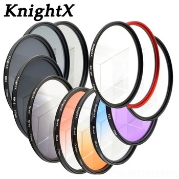 KnightX 49mm 52mm 58MM 67MM 72MM 77MM Gradual blue sky color FILTER UV FLD LENS FILTER for Canon EOS 1200D 750D 700D 600D Lens