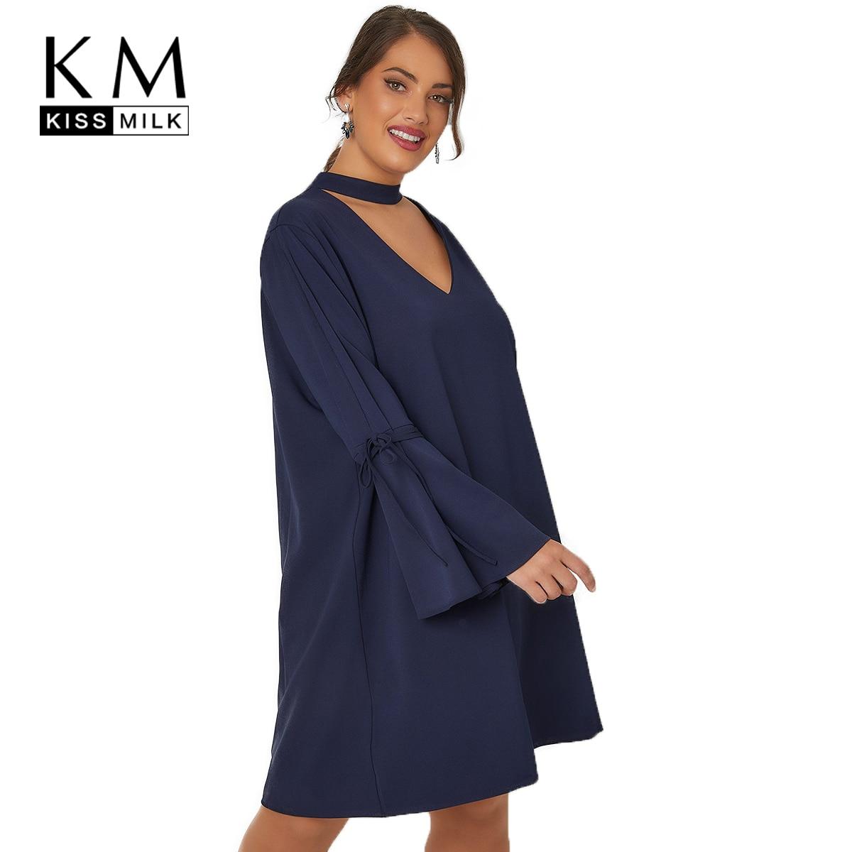 777b618c2cc9 Kissmilk 2018 Plus Size Hollow Out Women Dress Large Size Lace Up Flare  Sleeve Female Clothing