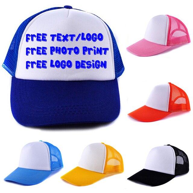 296096c5076 Custom Personalized Logo or Text Cap Heat Transfer Printing Baseball Trucker  Mesh Snapback Caps Muti-Color No Minimum Orders