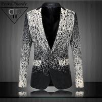 Proka Pnordy Blazer Men Floral Casual Slim Blazers 2017 New Arrival Fashion Party Single Breasted Men Suit Jacket Plus Size