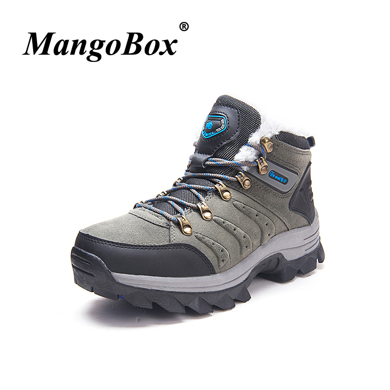 Men Sport Shoes with Fur Hiking Shoes Woman Comfortable Outdoor Boots Non Slip Trekking Boots Climbing Mountain Sneakers Couple цена
