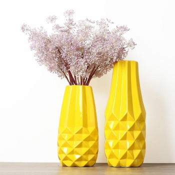 Northern Europe Style Yellow Ceramic Geometric Vases Home Living Room Decoration Artificial Flowers Holder Modern Vase Crafts