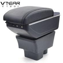 Vtear для Skoda Rapid armrest box usb зарядка повышение двойной слой центральный магазин содержание Подстаканник Пепельница Аксессуары 13-18