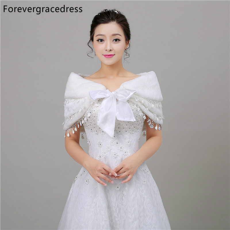 Forevergracedress Free Shipping Faux Fur Stoles Wedding Wrap Winter Bolero Jacket Bridal Accessories Cape In Stock