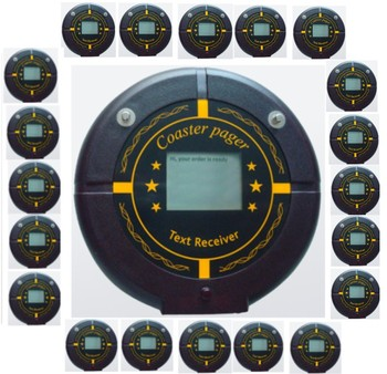 Free shipping! 20pcs coaster pager, Pocsag Alpha numeric text pager,coaster paging receiver,nurse/restaurant wireless call pager