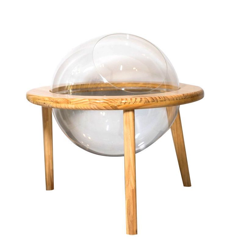 Space Capsule Cat Nest Solid Wood Transparent Spherical Four Seasons General Closed Net Red Cat Supplies Acrylic House For Cat