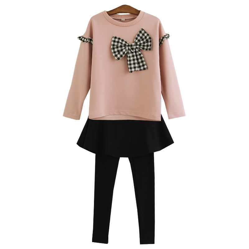 Girls Clothes Kids Clothes Spring and Autumn New 2019 Bow Set Big Boy Long Sleeve Sweater skirt pants 3 12 years in Clothing Sets from Mother Kids