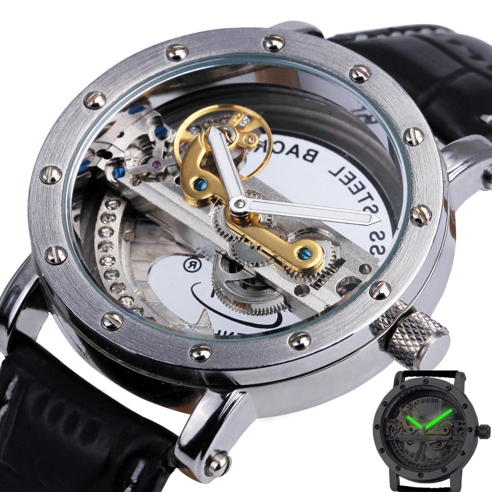 Prix pour Top Chaude En Gros Hommes de Squelette Automatique Pont D'or Montre-Bracelet Mécanique Bracelet En Cuir De Luxe Marque Qualité LIVRAISON GRATUITE