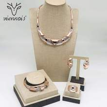 Viennois New Rose Gold / Gold Color Necklace Set For Women Geomertic Hollow Stud Earrings Set Party Jewelry Set 2018(China)