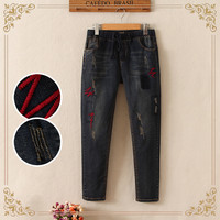 Edition New Fund 2015 Autumn Super Show Thin Embroidery Abstract Lines Stretch Jeans Feet Have