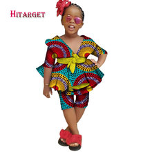 african clothing Cute girl children top+ traditional dashiki pants 100% cotton africa print natural 2 piecesWYT281