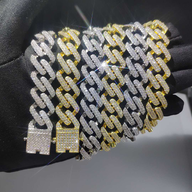 Hip Hop Micro Paved CZ Cubic Zirconia Gold Silver Cuban Miami Link Chain Necklaces for Men