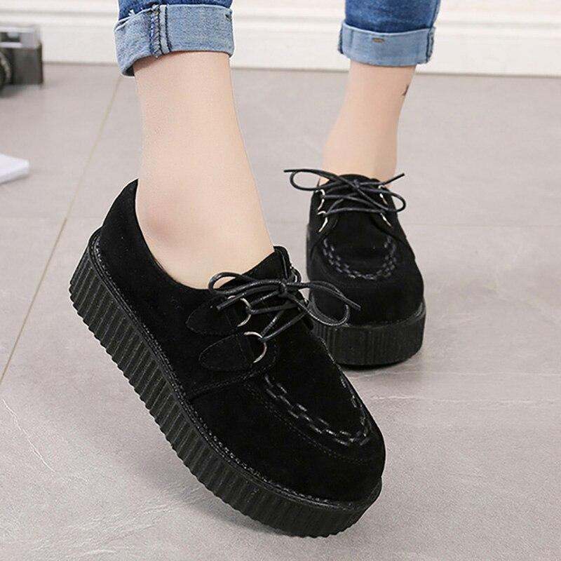 Shoes Platform Espadrilles Lace-Up Suede Creepers Women Comfort Female Plus-Size Woman