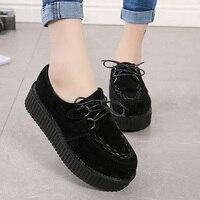 Creepers Women Shoes 2020 Plus Size Women Flats Shoes Woman Platform Espadrilles New Female Suede Lace Up Comfort Ladies Shoes