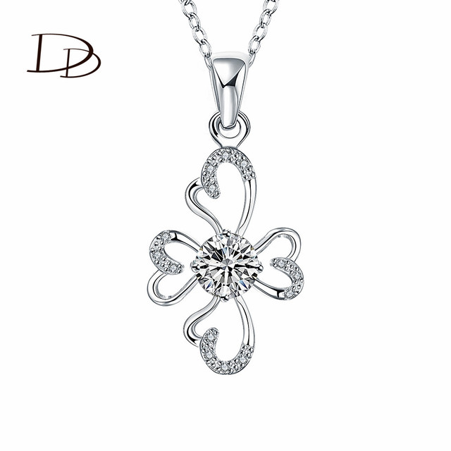 flower design silver plated pendant necklaces for women white cubic zircon  diamond jewelry accessories casual style HNE0389 f9117ec1202b