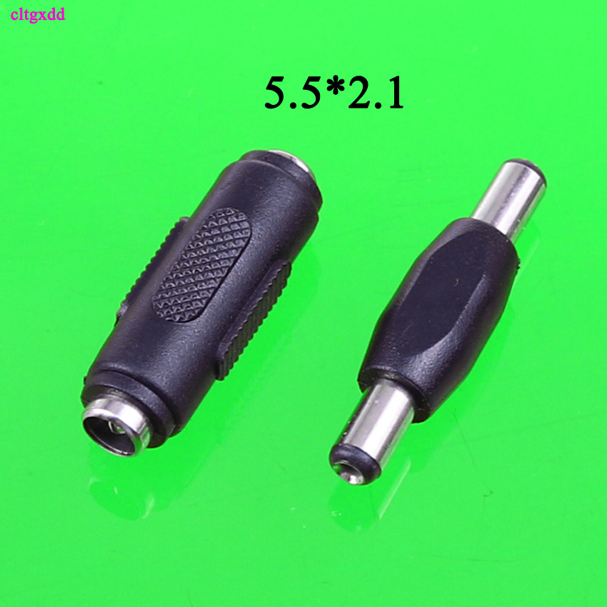 Cltgxdd 2pcs 5.5*2.1 Mm / 5.5x2.1mm DC Power Plug Connector Male To Male Panel Mounting Plugs Adaptor