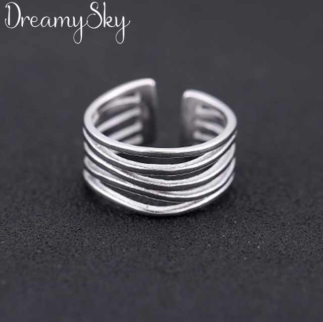 Wholesale Wedding Jewelry 925 Sterling Silver Large Rings For Women Punk Style Luxury Adjustable Size Statement Ring