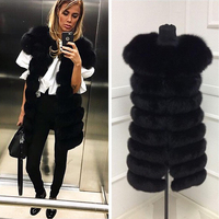 ETHEL ANDERSON 90CM Real Blue Fox Fur Coat Thick Warm Imitation Of Sables Lady Brown Long Jacket Whole Skin Leather Fox Fur Vest