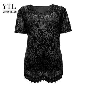 Image 3 - Womens Plus Size Elegante Lange Mouwen Bloemen Kant Zwart T Shirt Vrouwen Dames Tee Shirts 6XL 7XL 8XL H009