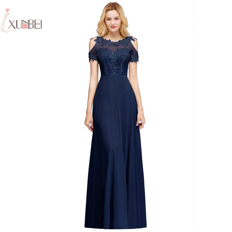 2019 Sexy Elegant Chiffon Long   Prom     Dresses   Pearl Applique   Prom   Gown Gala   Dress   vestido de festa gala jurken