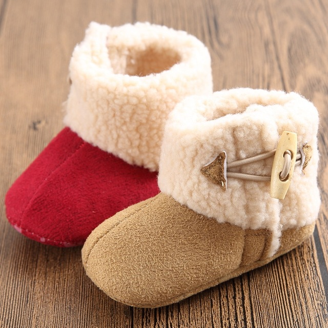 2016 New Fashion Super Warm Winter Baby Ankle Snow Boots Infant Shoes Khaki Antiskid Keep Warm Baby Shoes First Walkers