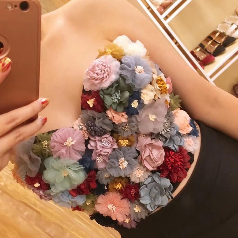 2019 nouvelle fleur courte multicolore fronde Push Up boîte de nuit Bralette femmes soutien-gorge recadrée haut gilet grande taille D01