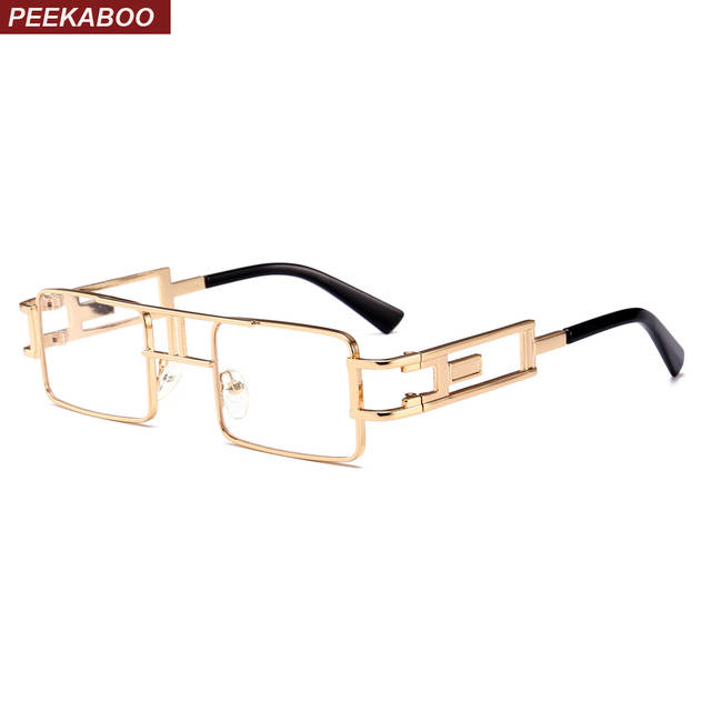 a6dcb85b85b placeholder Peekaboo vintage steampunk glasses men gold metal frame flat top  square rectangle eyeglasses frame women unisex