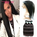 Preplucked 360 laço frontal com pacote em linha reta cabelo virgem indiano cru 360 frontal com feixes msbeauty 360 frontal do cabelo humano