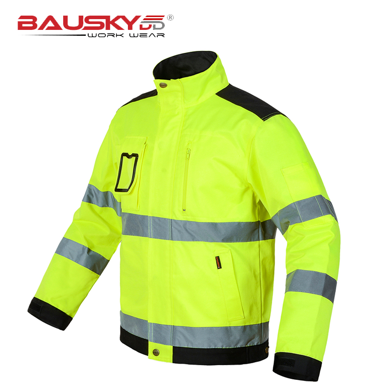 Reflective Jacket High visibility Fluorescent Yellow Jackets Men Outdoor Working Tops Multi-pockets Safety Workwear Clothing Куртка