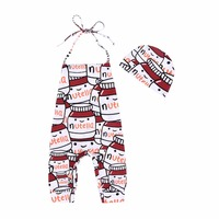 Baby Casual Romper Bottle Printed Jumpsuit Newborn Sweet Baby Summer Cute Jumpsuit Lovely Hat 6M 24M