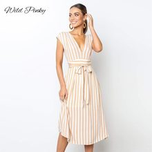 WildPinky Women Summer Beach Dress A-Line Striped Deep V-Neck Long Lace Up Bow Casual 2019 New Fashion Sundress Vestidos