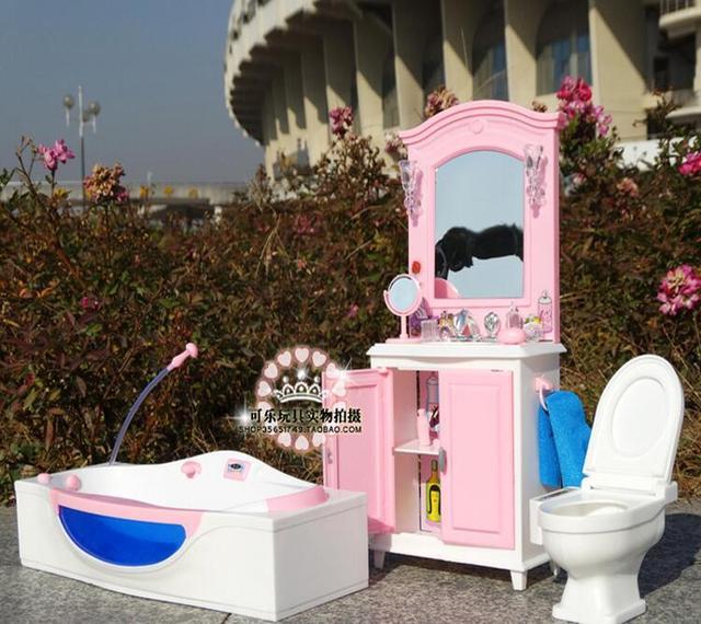 6 points 30cm accessoires pour barbie maison de poupée meubles de maison salle de bains baignoire commode toilette bricolage maison fille jouets