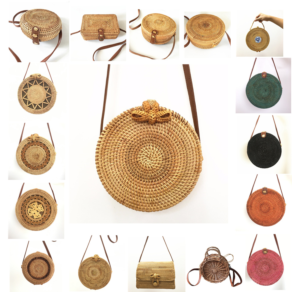 Rattan Bags <font><b>Handbags</b></font> For Women 2018 Bali Bohemian Summer Beach Bag Fashion Hot Shoulder Crossbody Round bolsa Straw Bag