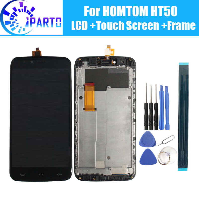 HOMTOM HT50 ЖК-дисплей Дисплей + Сенсорный экран + рамка сборки 100% оригинал ЖК-дисплей планшета Стекло Панель для HOMTOM HT50 + инструменты.