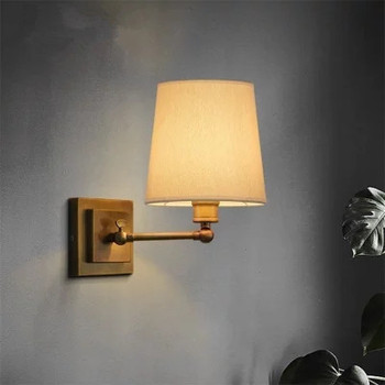 fabric wall lamp beige cloth light Europe bronze lighting fixture bedside CLARIDGE DOUBLE SCONCE WITH LINEN SHADE