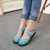 Real Leather Soft Bottom Retro Hand Woven Hollow Leather Casual Flat Shoes Anti Skid Middle Aged