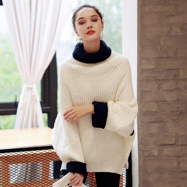 Quintina 2017 Новая Мода Дамские Пуловеры Вязаный Свитер Толщина Свободный Размер Осень Женщины Свитер