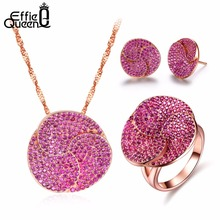 Effie Queen Rose Gold Color Earrings & Ring & Necklace Jewelry Sets with Micro Paved AAA Cubic Zirconia for Women Accessory DS99