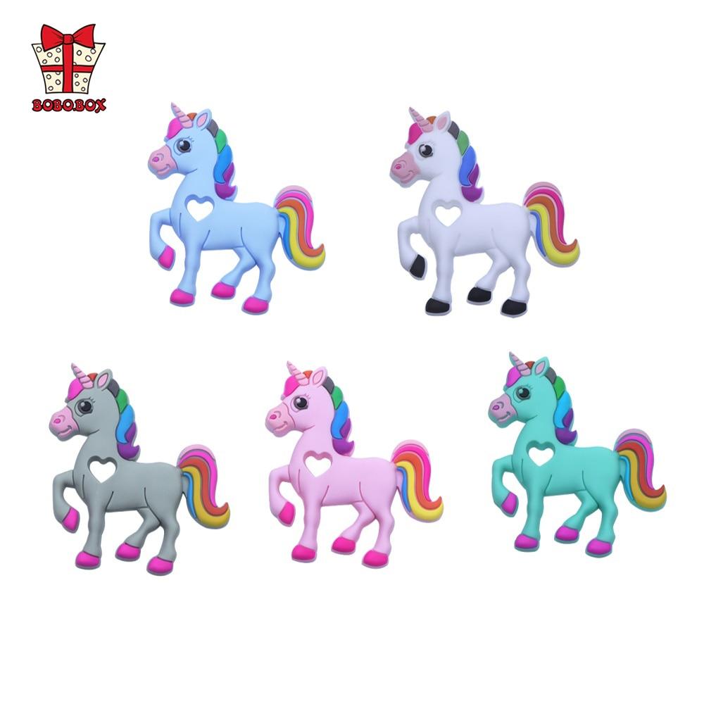 BOBO.BOX 2Pcs Unicorn Baby Teething Toy Silicone Teether Animal Pendant DIY Chew Necklace Nursing Food Grade Silicone BPA Free