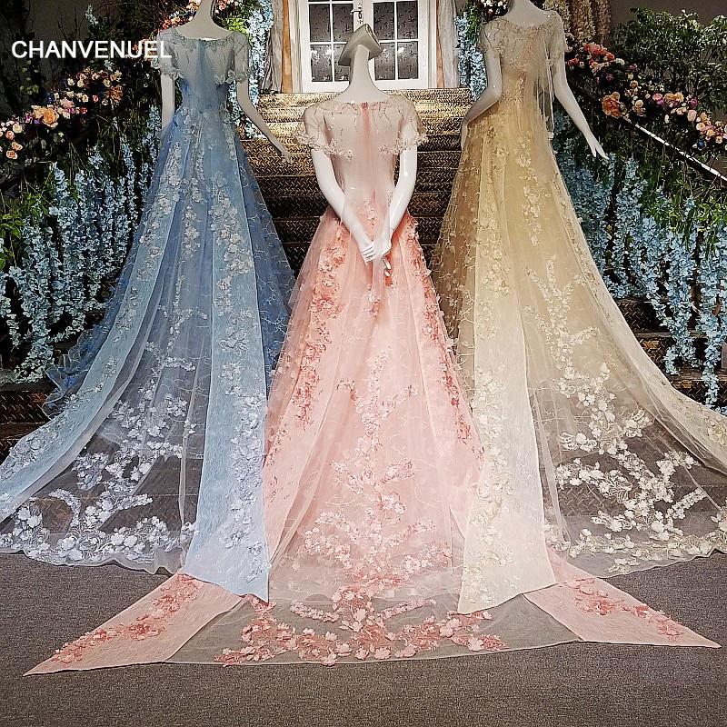 LS00142 evening dress long 2018 lace vestidos de festa longo A line short sleeves formal dress long party real photos online