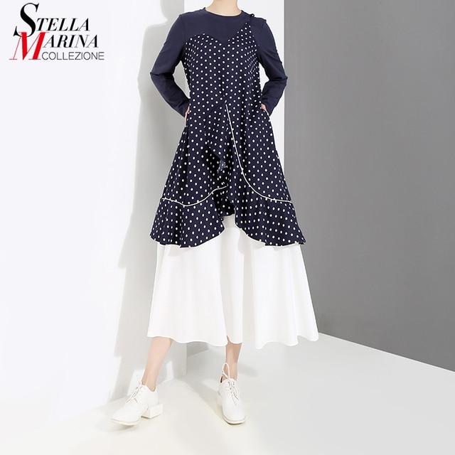 Nuovo 2019 Coreano Delle Donne di Stile Lungo della Molla Del Progettista  Del Vestito di Polka Punti Stampati A Manica Lunga Femminile Della  Rappezzatura ... 03fe25cd454