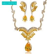 MECHOSEN Luxury Women Bridal Jewelry Set Water Drop Rhinestone Necklace Long Earrings Set Yellow Zirconia Collier Brinco Schmuck