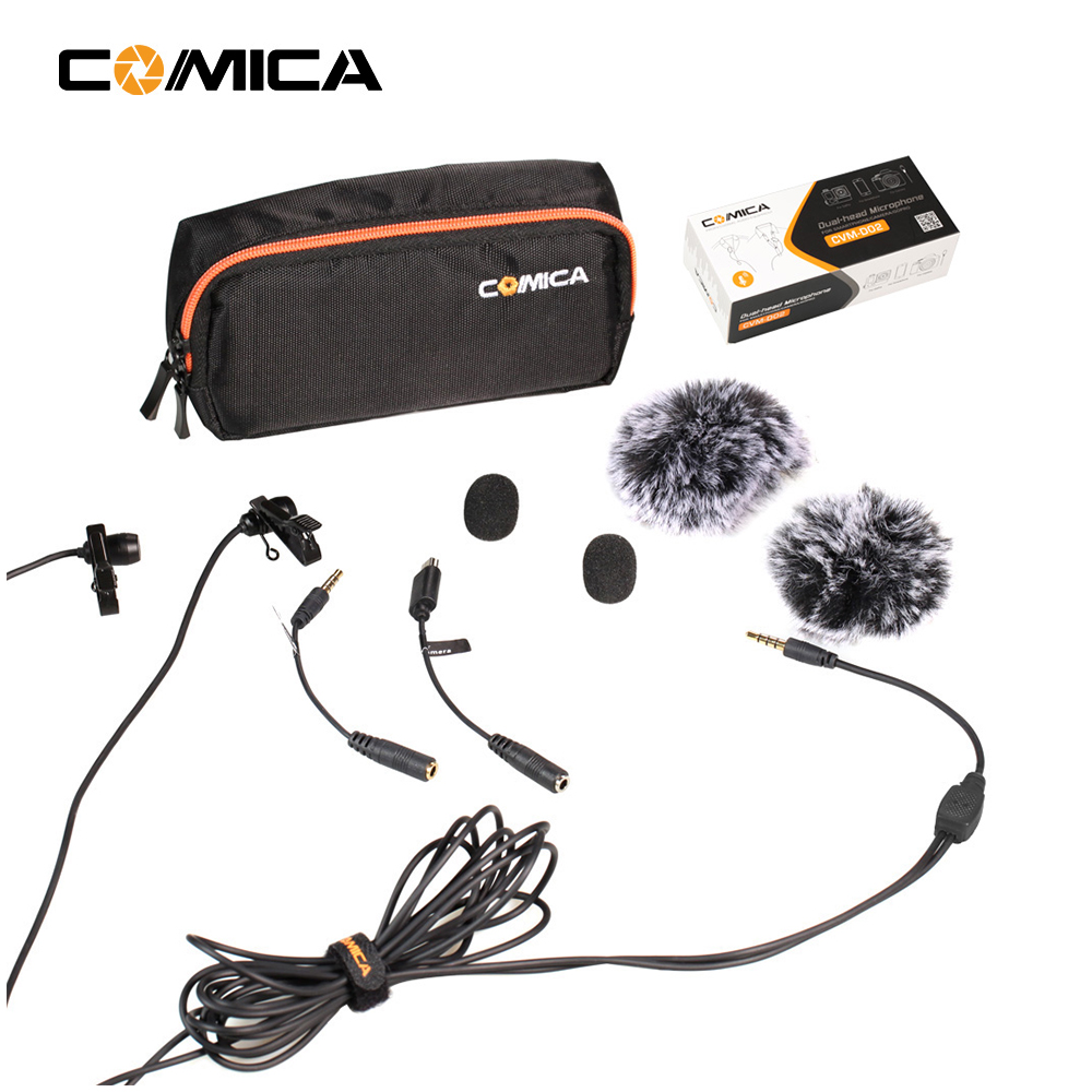COMICA Smartphone Double tête Cravate DSLR Caméra Microphone pour Iphone Sony A7R A6300 GoPro Entrevue Vlogging Youtube
