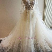 JULIA KUI Beaded A-Line Wedding Dress Full Sleeves